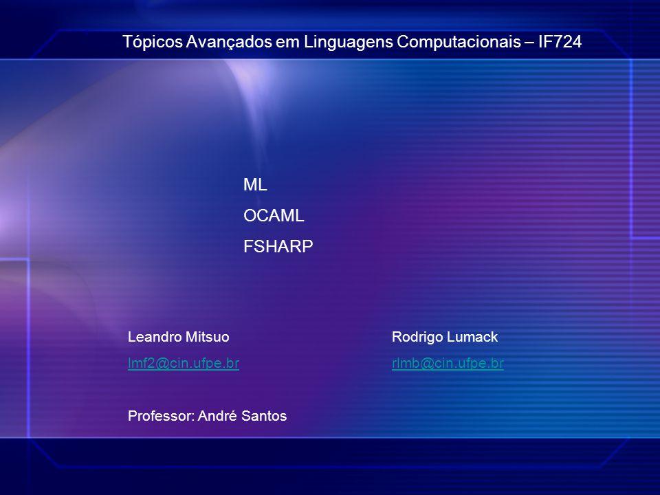 ® Tópicos Avançados em Linguagens Computacionais – IF724 ML OCAML FSHARP Leandro Mitsuo Rodrigo Lumack lmf2@cin.ufpe.brrlmb@cin.ufpe.br Professor: And