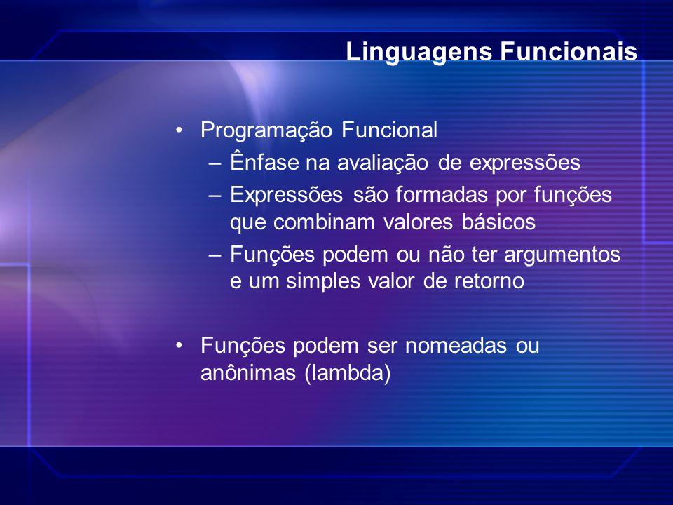 Linguagens Funcionais Programação Funcional –Ênfase na avaliação de expressões –Expressões são formadas por funções que combinam valores básicos –Funç