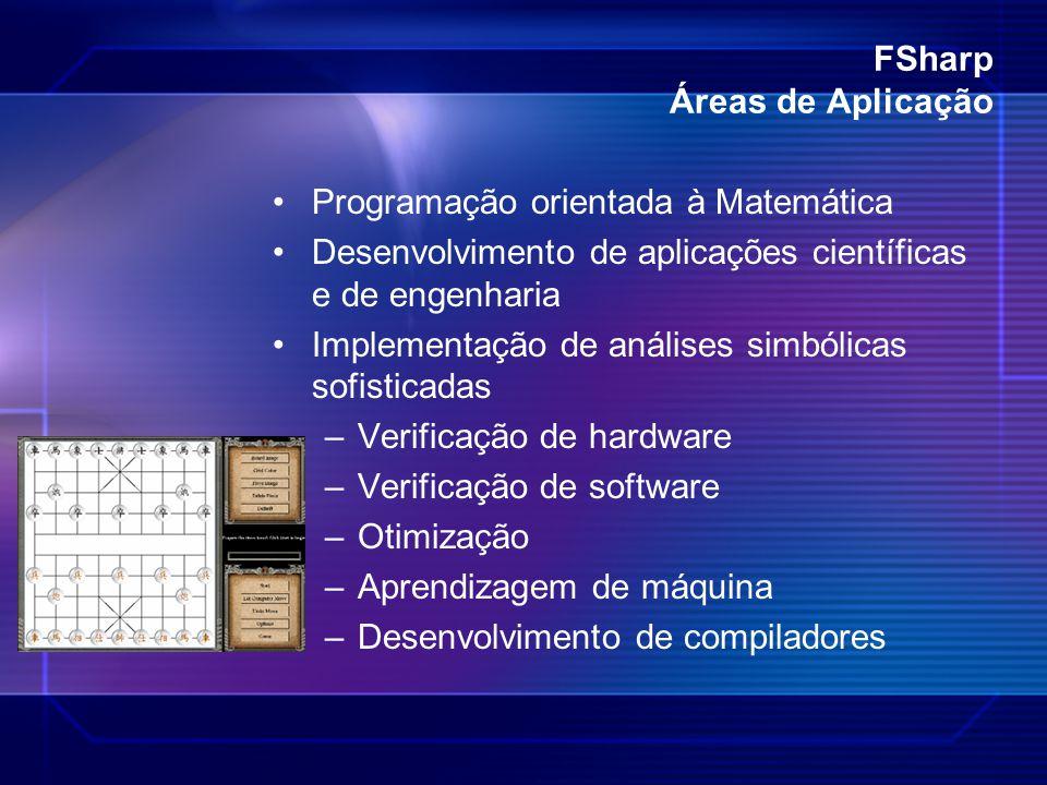 FSharp Áreas de Aplicação Programação orientada à Matemática Desenvolvimento de aplicações científicas e de engenharia Implementação de análises simbó