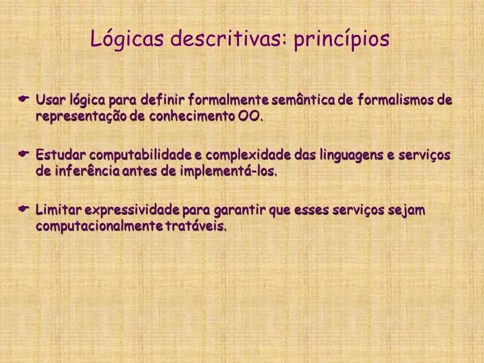 Lógicas descritivas: conceitos chaves  Utilizar lógica para dar semântica a hierarquia OO  Formalismos lógicos para representação das informações sobre classes de indivíduos e suas descrições.