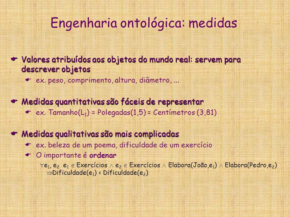 Engenharia ontológica: Objetos Compostos  Objetos formados por partes que também são objetos  São caracterizados pela estrutura dos objetos que os compõem  ex.