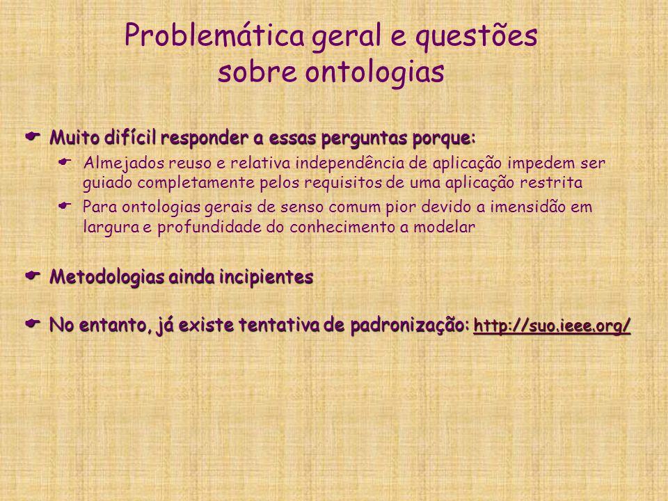 Problemática geral e questões sobre ontologias  Muito difícil responder a essas perguntas porque:  Almejados reuso e relativa independência de aplic