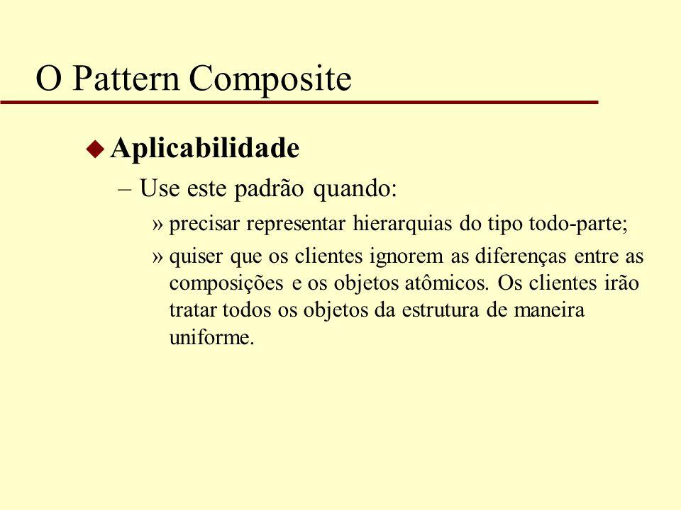 O Pattern Composite u Aplicabilidade –Use este padrão quando: »precisar representar hierarquias do tipo todo-parte; »quiser que os clientes ignorem as