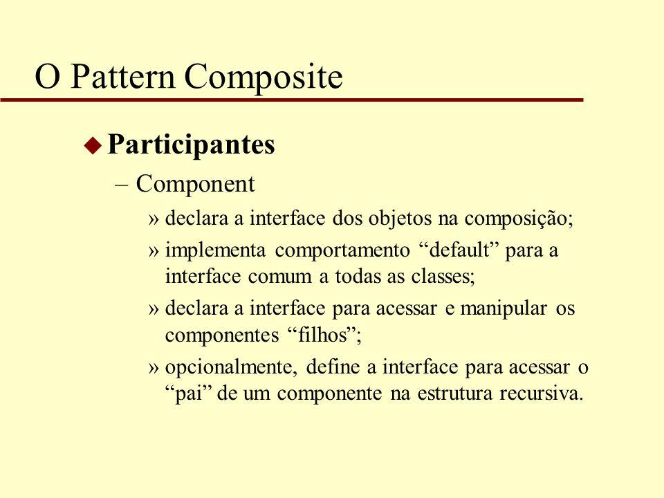 """O Pattern Composite u Participantes –Component »declara a interface dos objetos na composição; »implementa comportamento """"default"""" para a interface co"""
