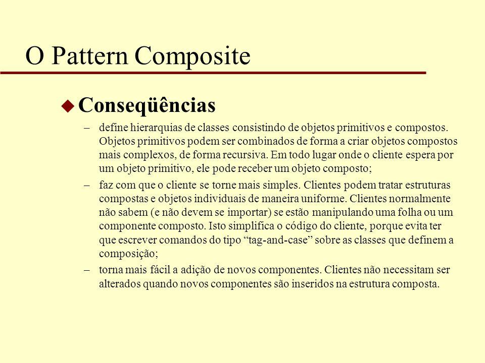 O Pattern Composite u Conseqüências –define hierarquias de classes consistindo de objetos primitivos e compostos. Objetos primitivos podem ser combina
