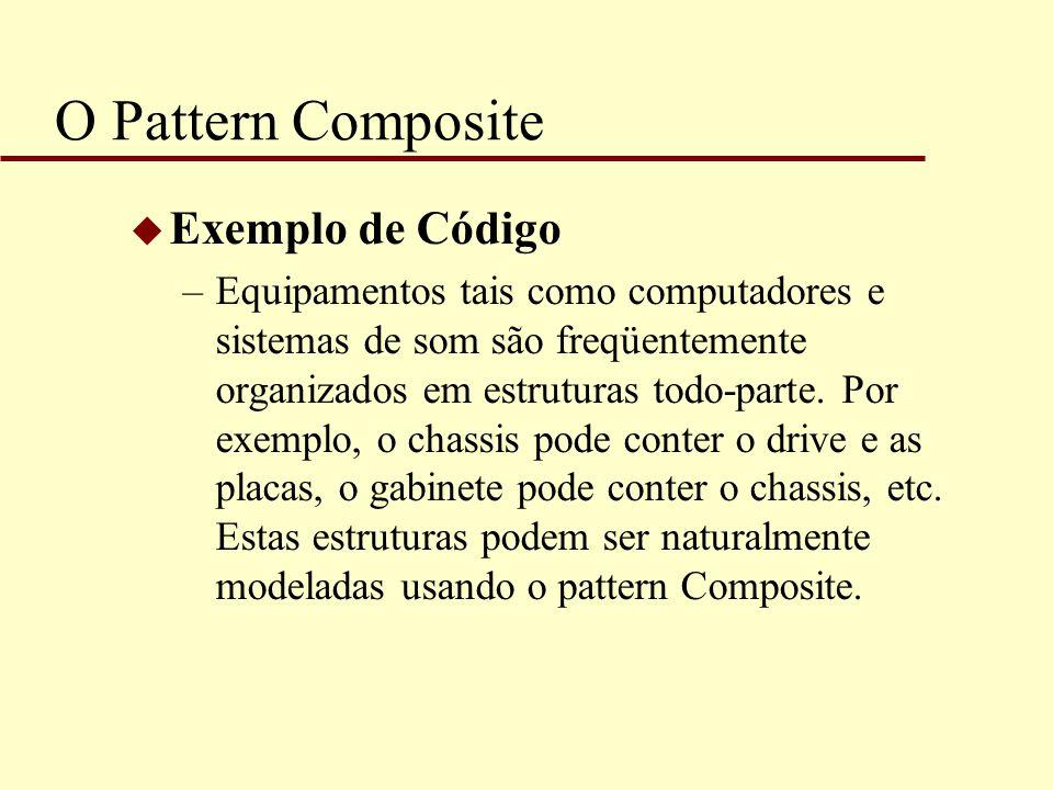 O Pattern Composite u Exemplo de Código –Equipamentos tais como computadores e sistemas de som são freqüentemente organizados em estruturas todo-parte