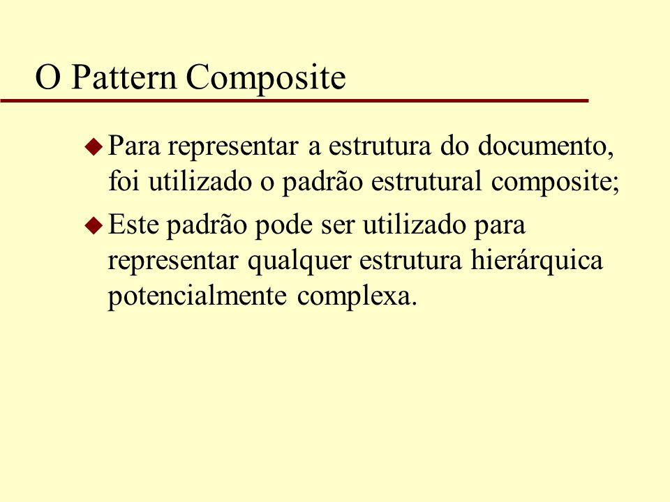 O Pattern Composite u Para representar a estrutura do documento, foi utilizado o padrão estrutural composite; u Este padrão pode ser utilizado para re