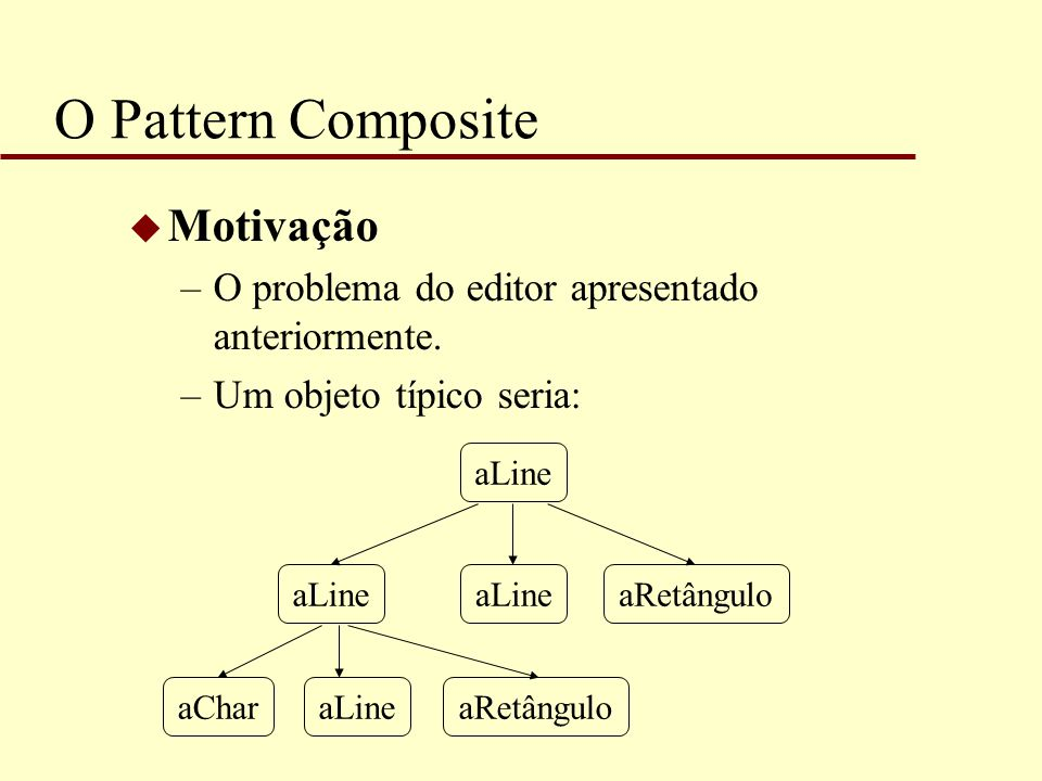O Pattern Composite u Motivação –O problema do editor apresentado anteriormente. –Um objeto típico seria: aLine aRetânguloaLineaChar aRetângulo