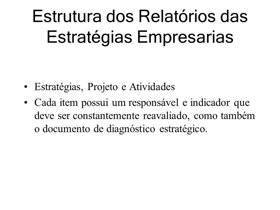 Estrutura dos Relatórios das Estratégias Empresarias Estratégias, Projeto e Atividades Cada item possui um responsável e indicador que deve ser constantemente reavaliado, como também o documento de diagnóstico estratégico.