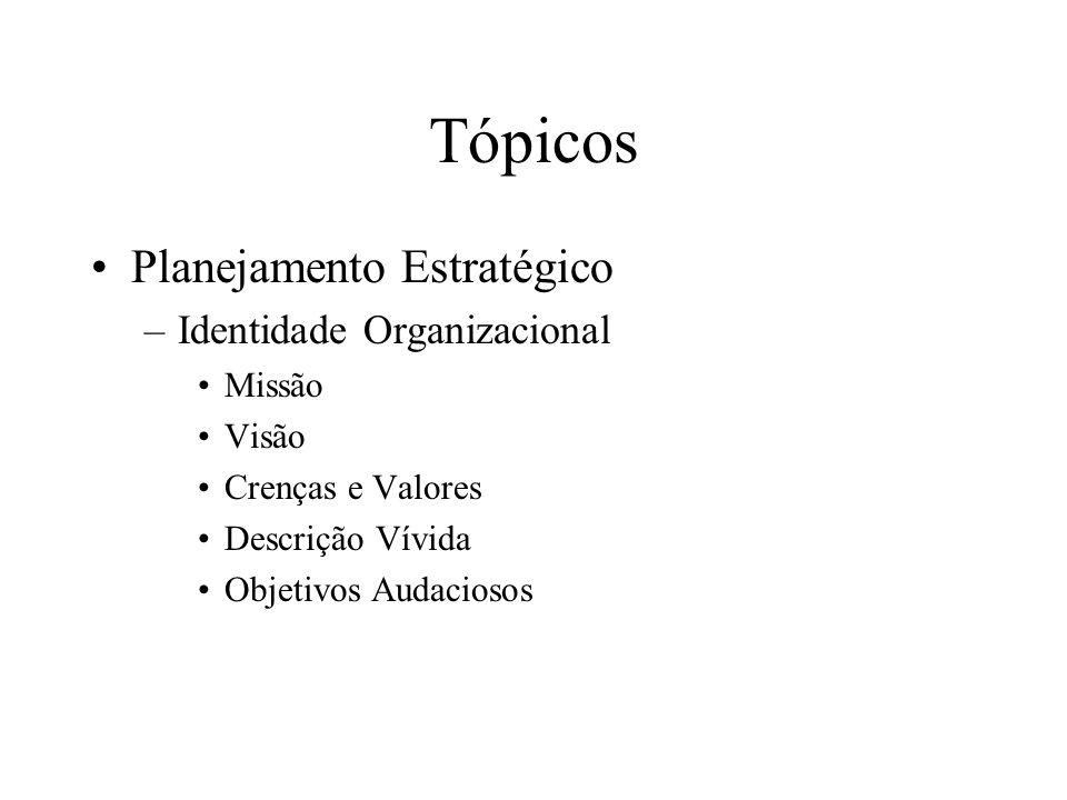 Tópicos Planejamento Estratégico –Identidade Organizacional Missão Visão Crenças e Valores Descrição Vívida Objetivos Audaciosos