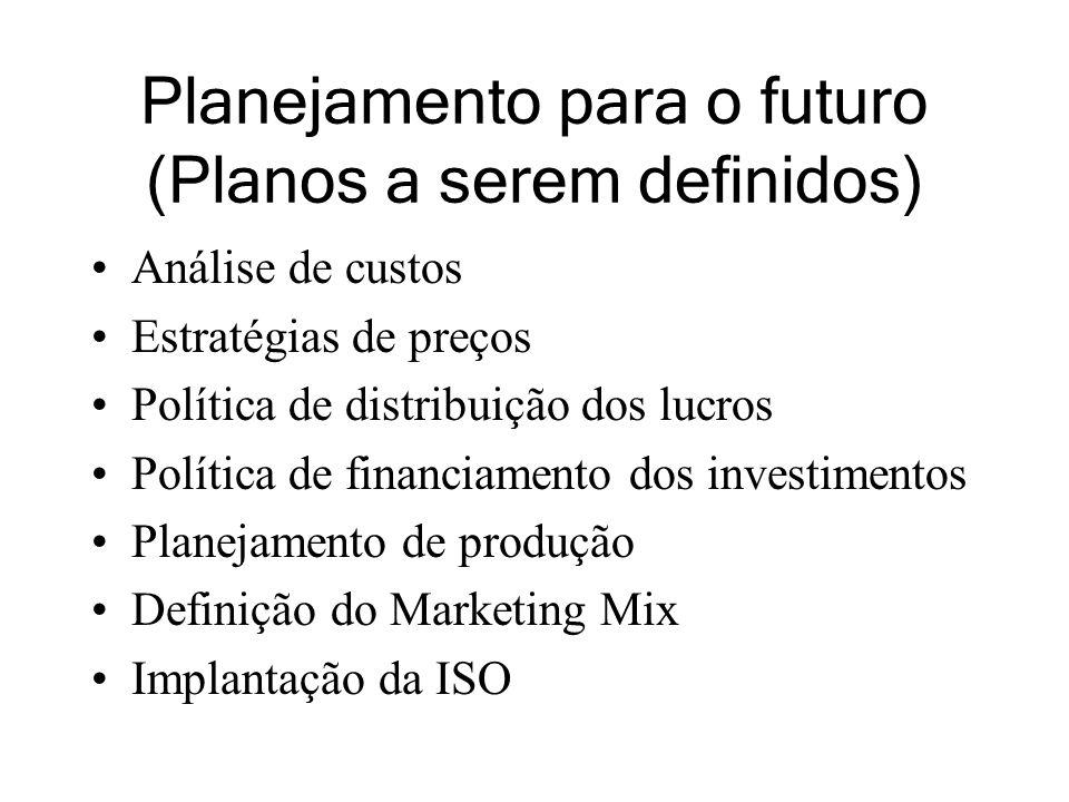 Planejamento para o futuro (Planos a serem definidos) Análise de custos Estratégias de preços Política de distribuição dos lucros Política de financiamento dos investimentos Planejamento de produção Definição do Marketing Mix Implantação da ISO