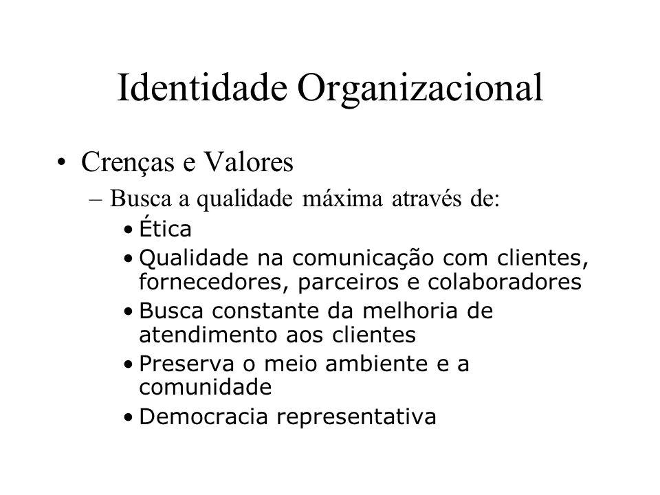 Identidade Organizacional Crenças e Valores –Busca a qualidade máxima através de: Cidadania Busca de qualidade de vida dos seus funcionários Parcerias e alianças estratégicas Qualidade dos serviços Produtividade Competitividade