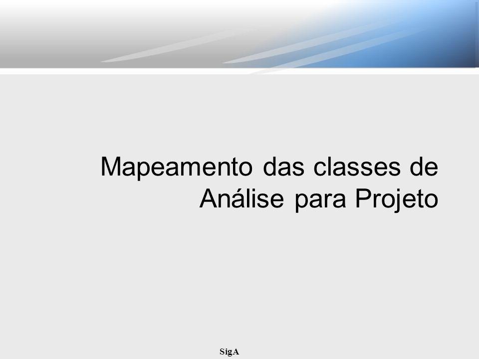 SigA Mapeamento das classes de Análise para Projeto