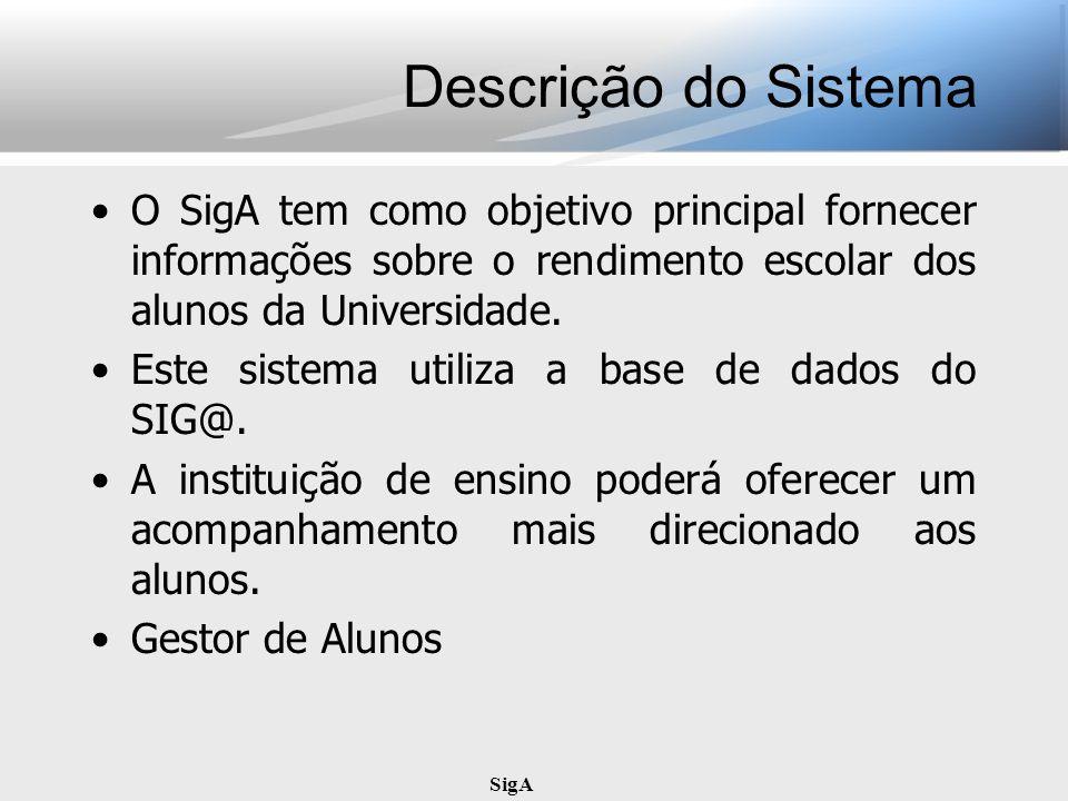 SigA Descrição do Sistema O SigA tem como objetivo principal fornecer informações sobre o rendimento escolar dos alunos da Universidade. Este sistema