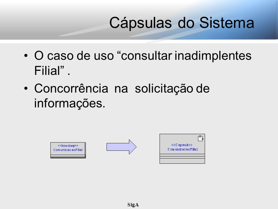 """SigA Cápsulas do Sistema O caso de uso """"consultar inadimplentes Filial"""". Concorrência na solicitação de informações."""