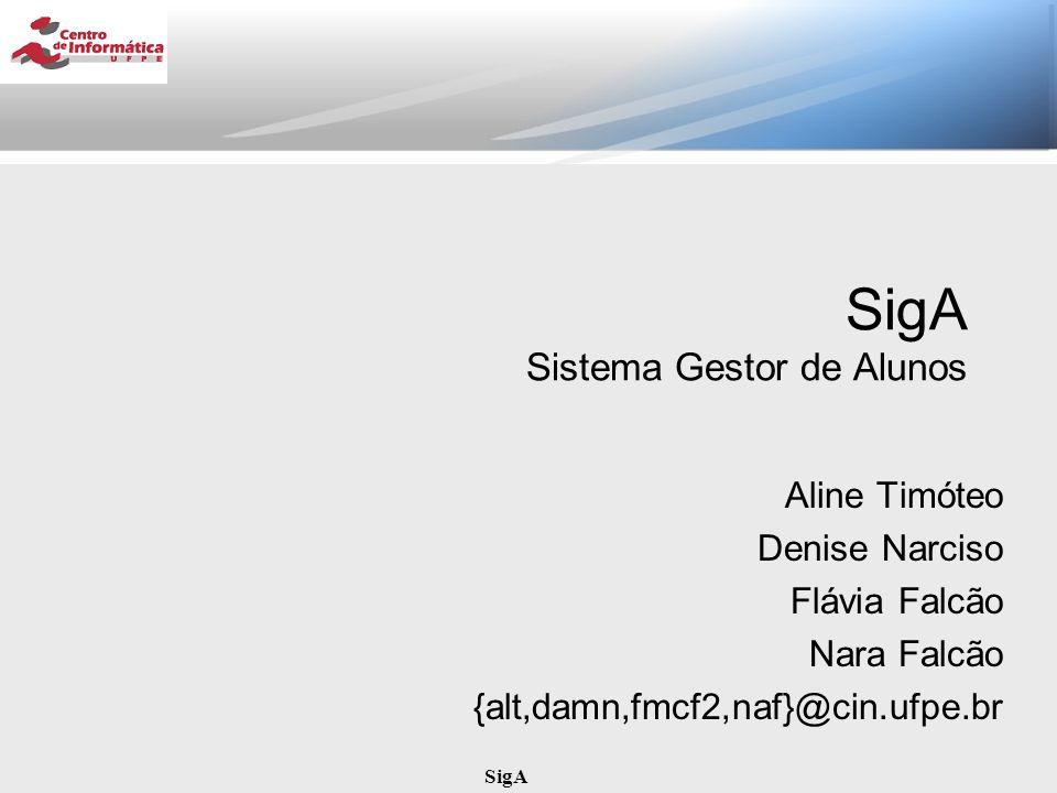 SigA SigA Sistema Gestor de Alunos Aline Timóteo Denise Narciso Flávia Falcão Nara Falcão {alt,damn,fmcf2,naf}@cin.ufpe.br