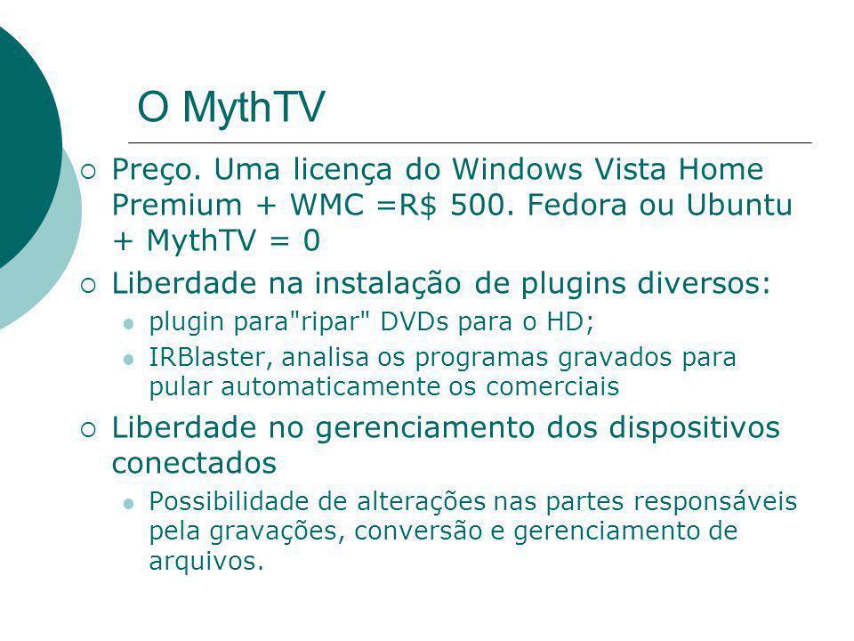O MythTV  Preço. Uma licença do Windows Vista Home Premium + WMC =R$ 500. Fedora ou Ubuntu + MythTV = 0  Liberdade na instalação de plugins diversos
