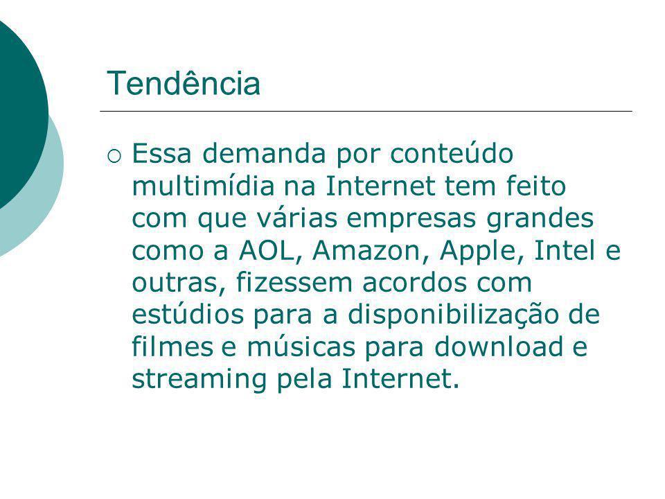 Tendência  Essa demanda por conteúdo multimídia na Internet tem feito com que várias empresas grandes como a AOL, Amazon, Apple, Intel e outras, fize
