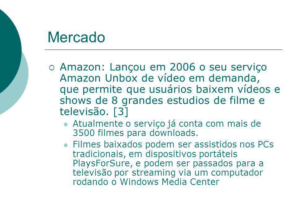  Amazon: Lançou em 2006 o seu serviço Amazon Unbox de vídeo em demanda, que permite que usuários baixem vídeos e shows de 8 grandes estudios de filme e televisão.