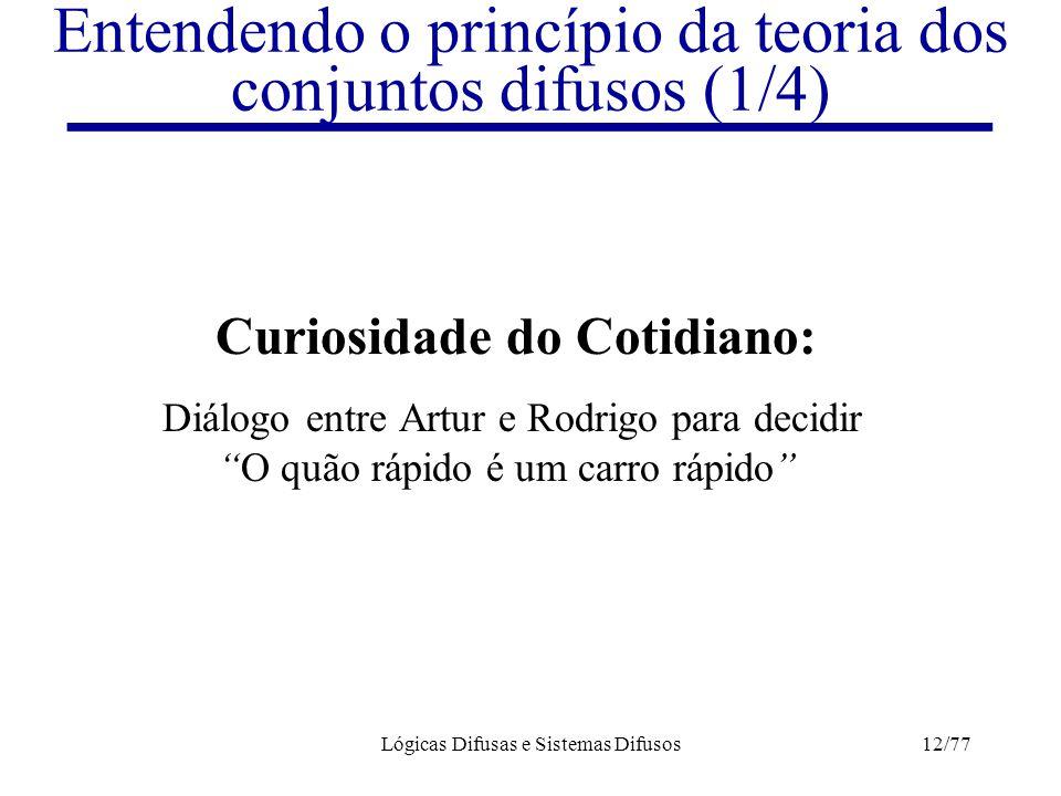 Lógicas Difusas e Sistemas Difusos12/77 Entendendo o princípio da teoria dos conjuntos difusos (1/4) Curiosidade do Cotidiano: Diálogo entre Artur e R