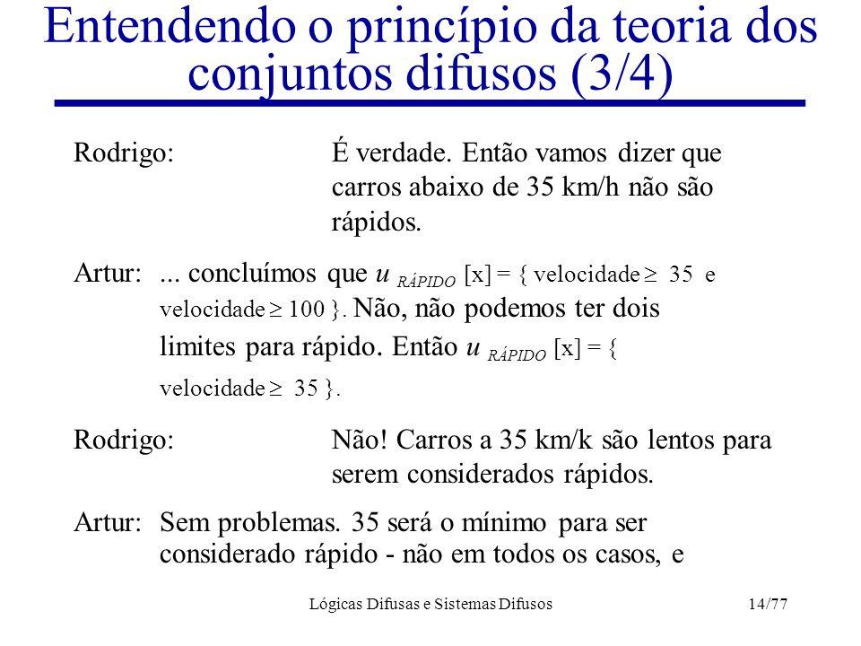 Lógicas Difusas e Sistemas Difusos14/77 Entendendo o princípio da teoria dos conjuntos difusos (3/4) Rodrigo:É verdade. Então vamos dizer que carros a
