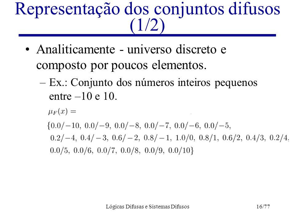 Lógicas Difusas e Sistemas Difusos16/77 Representação dos conjuntos difusos (1/2) Analiticamente - universo discreto e composto por poucos elementos.