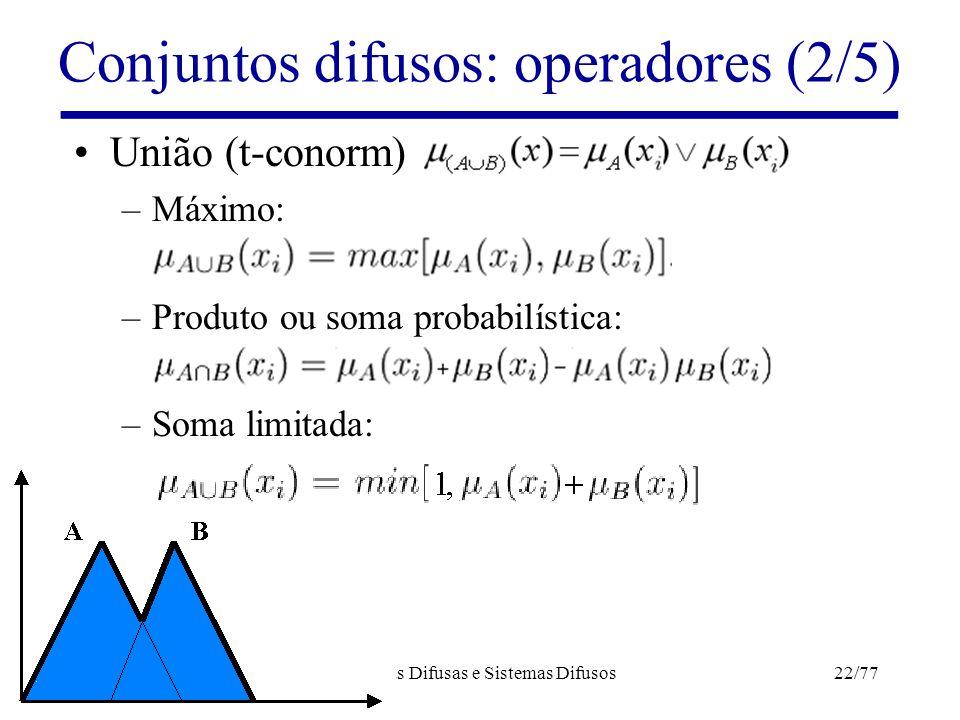 Lógicas Difusas e Sistemas Difusos22/77 Conjuntos difusos: operadores (2/5) União (t-conorm) –Máximo: –Produto ou soma probabilística: –Soma limitada: