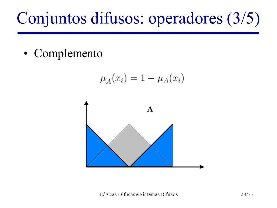 Lógicas Difusas e Sistemas Difusos23/77 Conjuntos difusos: operadores (3/5) Complemento