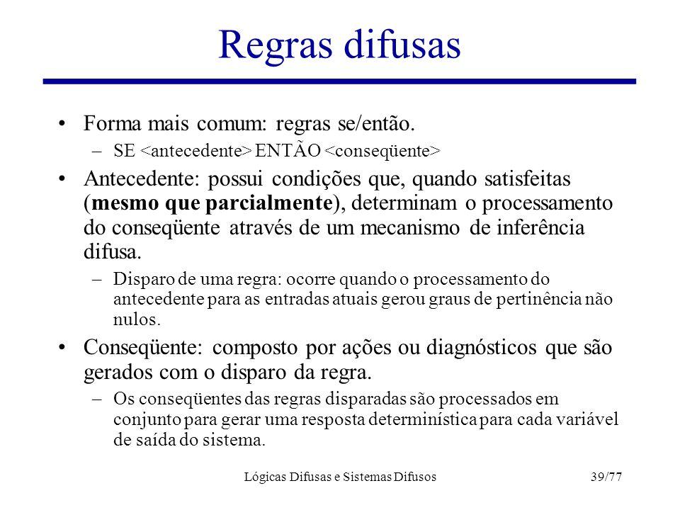 Lógicas Difusas e Sistemas Difusos39/77 Regras difusas Forma mais comum: regras se/então. –SE ENTÃO Antecedente: possui condições que, quando satisfei