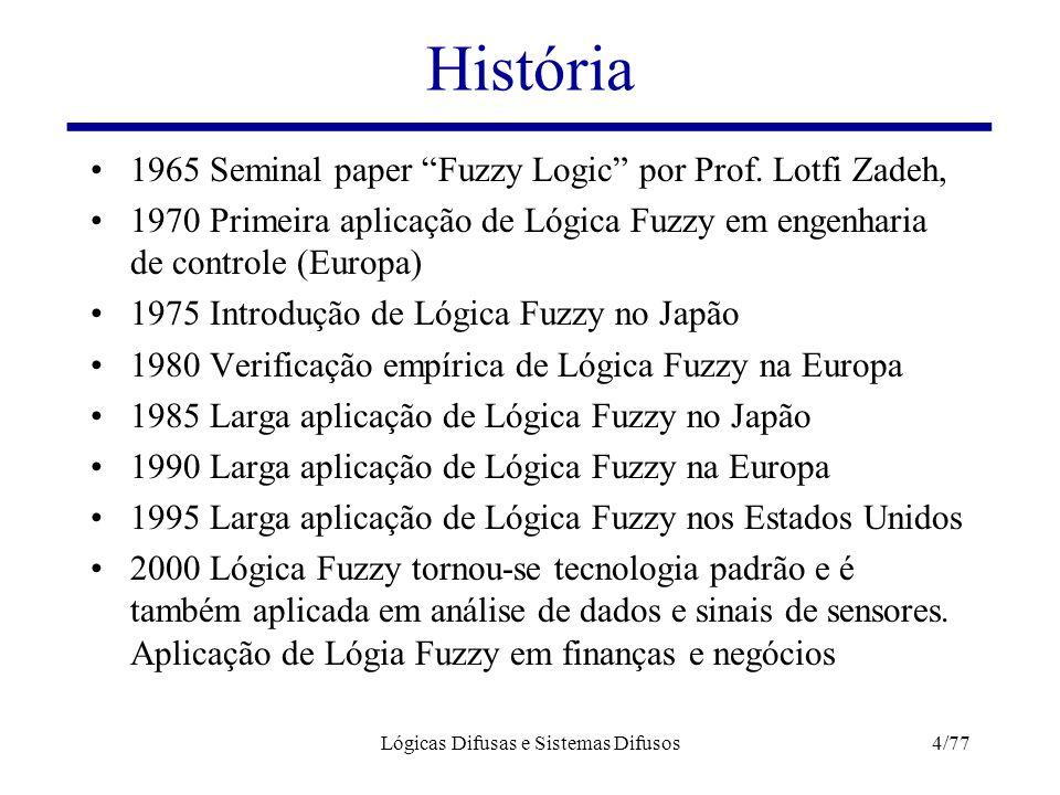 """História 1965 Seminal paper """"Fuzzy Logic"""" por Prof. Lotfi Zadeh, 1970 Primeira aplicação de Lógica Fuzzy em engenharia de controle (Europa) 1975 Intro"""