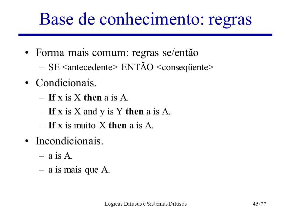 Lógicas Difusas e Sistemas Difusos45/77 Base de conhecimento: regras Forma mais comum: regras se/então –SE ENTÃO Condicionais. –If x is X then a is A.