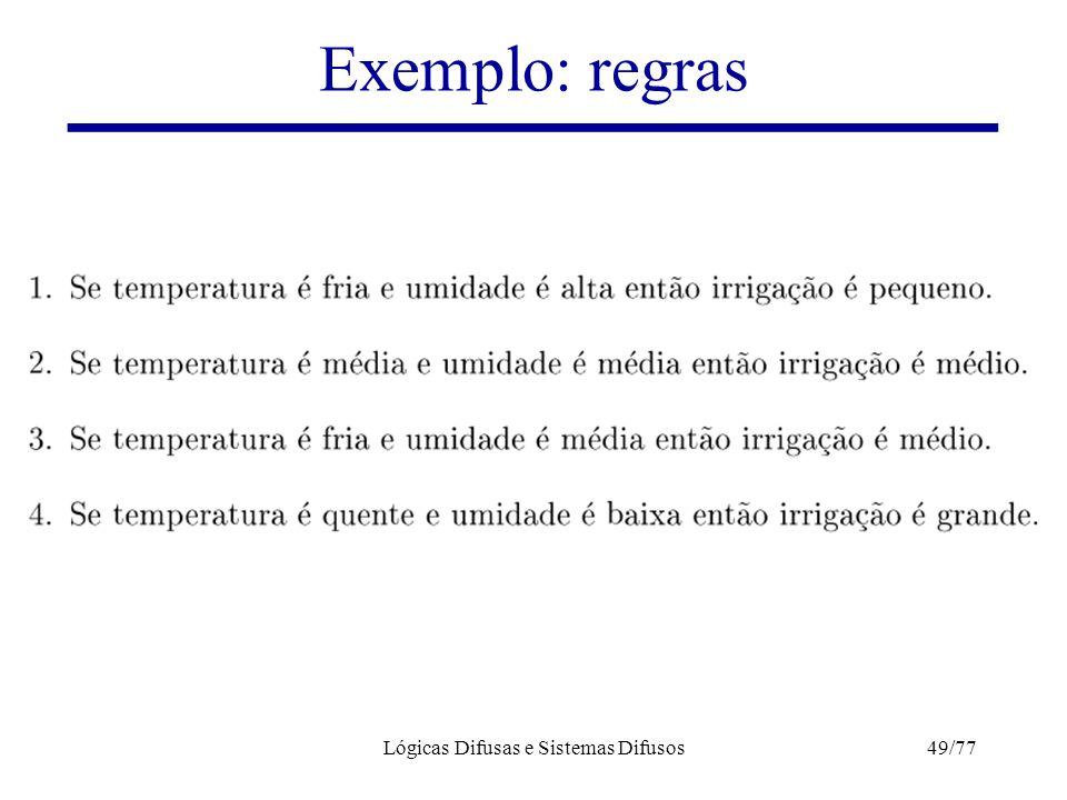 Lógicas Difusas e Sistemas Difusos49/77 Exemplo: regras