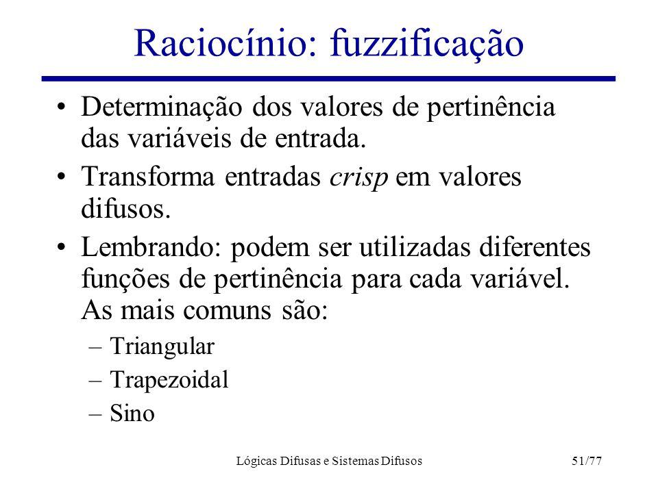 Lógicas Difusas e Sistemas Difusos51/77 Raciocínio: fuzzificação Determinação dos valores de pertinência das variáveis de entrada. Transforma entradas