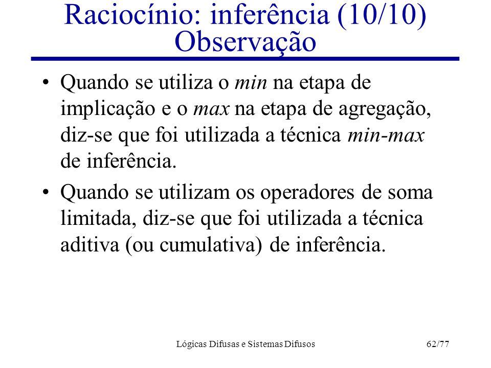 Lógicas Difusas e Sistemas Difusos62/77 Raciocínio: inferência (10/10) Observação Quando se utiliza o min na etapa de implicação e o max na etapa de a