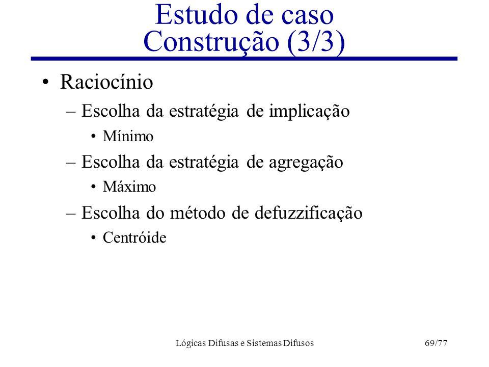 Lógicas Difusas e Sistemas Difusos69/77 Raciocínio –Escolha da estratégia de implicação Mínimo –Escolha da estratégia de agregação Máximo –Escolha do
