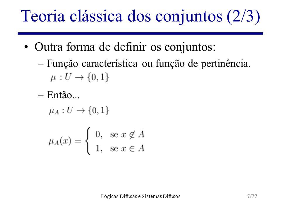 Lógicas Difusas e Sistemas Difusos7/77 Teoria clássica dos conjuntos (2/3) Outra forma de definir os conjuntos: –Função característica ou função de pe