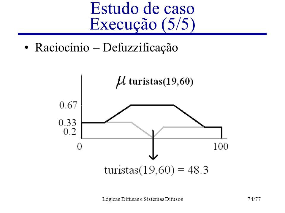 Lógicas Difusas e Sistemas Difusos74/77 Estudo de caso Execução (5/5) Raciocínio – Defuzzificação