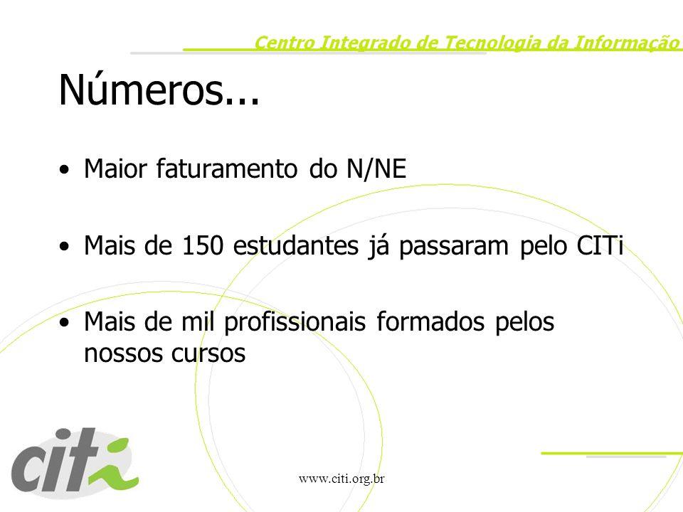 www.citi.org.br Números... Maior faturamento do N/NE Mais de 150 estudantes já passaram pelo CITi Mais de mil profissionais formados pelos nossos curs