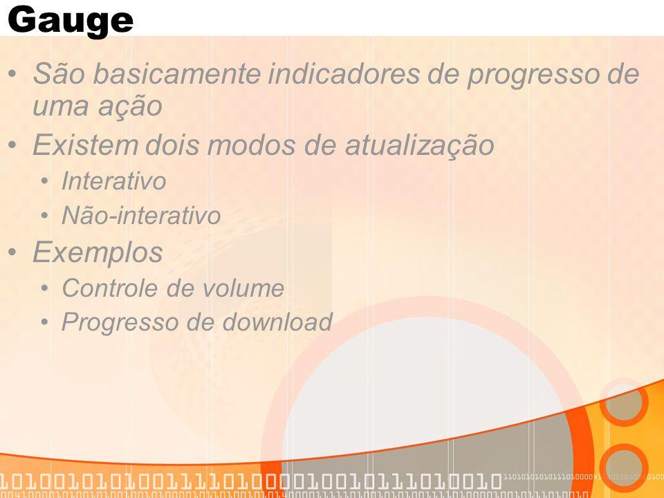 Gauge São basicamente indicadores de progresso de uma ação Existem dois modos de atualização Interativo Não-interativo Exemplos Controle de volume Pro