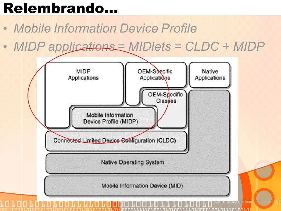 MIDlets Componentes do MIDlet JAD – usado pelo JAM.