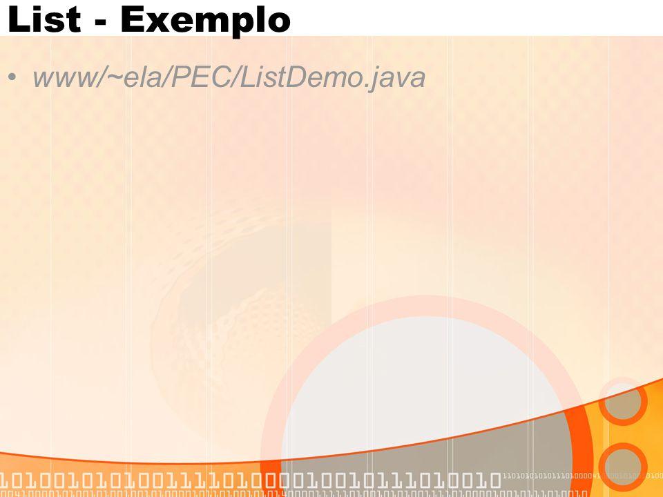 List - Exemplo www/~ela/PEC/ListDemo.java