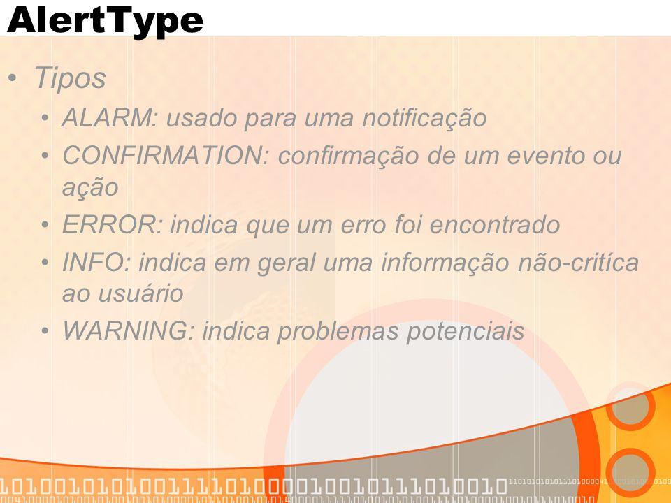 AlertType Tipos ALARM: usado para uma notificação CONFIRMATION: confirmação de um evento ou ação ERROR: indica que um erro foi encontrado INFO: indica