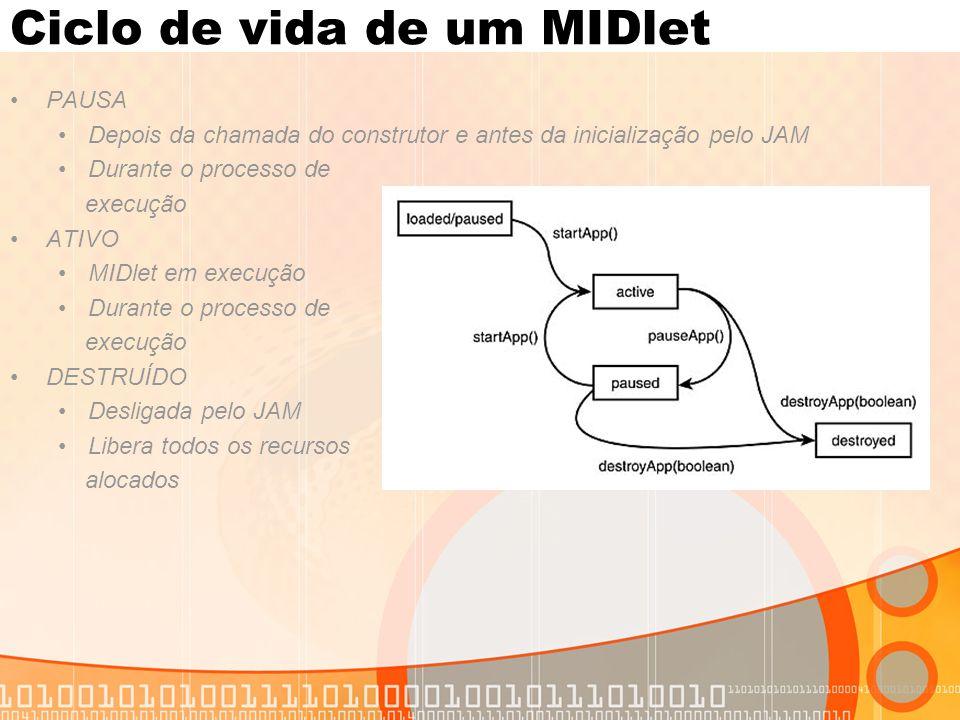 Ciclo de vida de um MIDlet PAUSA Depois da chamada do construtor e antes da inicialização pelo JAM Durante o processo de execução ATIVO MIDlet em exec