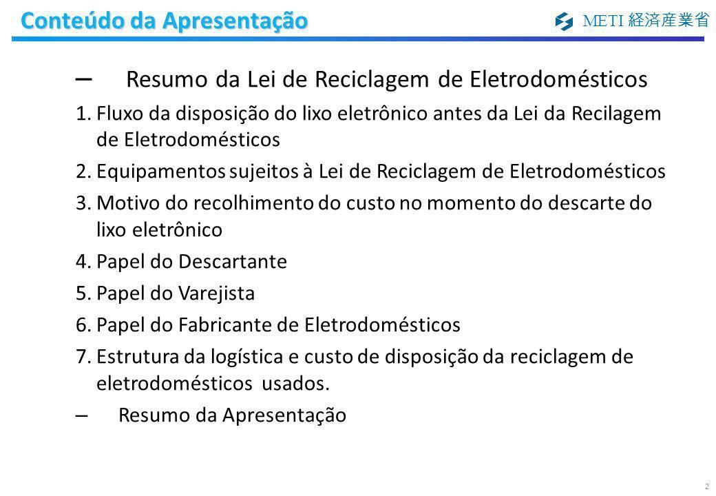 METI 経済産業省 Conteúdo da Apresentação 2 – Resumo da Lei de Reciclagem de Eletrodomésticos 1.Fluxo da disposição do lixo eletrônico antes da Lei da Recil