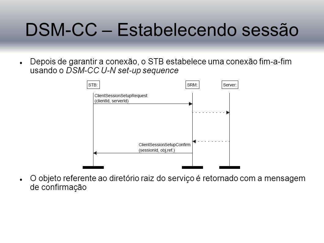 DSM-CC – Estabelecendo sessão Depois de garantir a conexão, o STB estabelece uma conexão fim-a-fim usando o DSM-CC U-N set-up sequence O objeto referente ao diretório raiz do serviço é retornado com a mensagem de confirmação