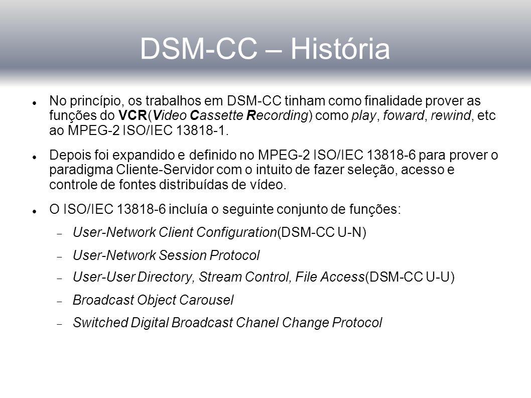 DSM-CC – História No princípio, os trabalhos em DSM-CC tinham como finalidade prover as funções do VCR(Video Cassette Recording) como play, foward, rewind, etc ao MPEG-2 ISO/IEC 13818-1.
