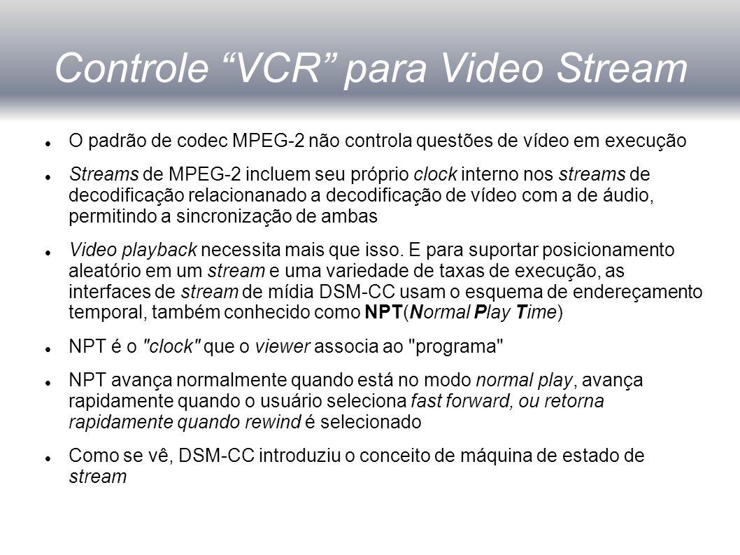 Controle VCR para Video Stream O padrão de codec MPEG-2 não controla questões de vídeo em execução Streams de MPEG-2 incluem seu próprio clock interno nos streams de decodificação relacionanado a decodificação de vídeo com a de áudio, permitindo a sincronização de ambas Video playback necessita mais que isso.