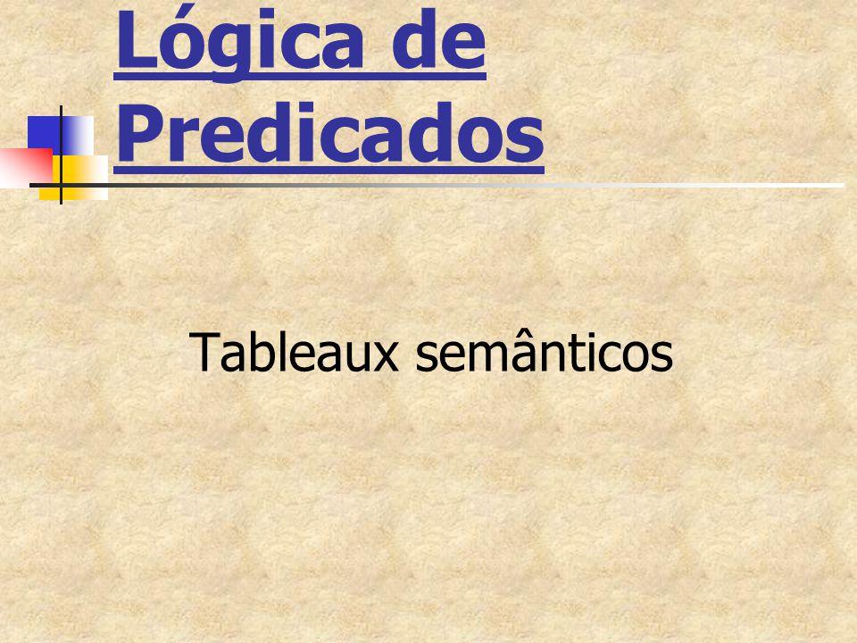 Sistema de Tableaux Semânticos Alfabeto da Lógica de Predicados Conjunto de fórmulas da Lógica de Predicados Conjunto de regras de dedução (ou regras de inferência)