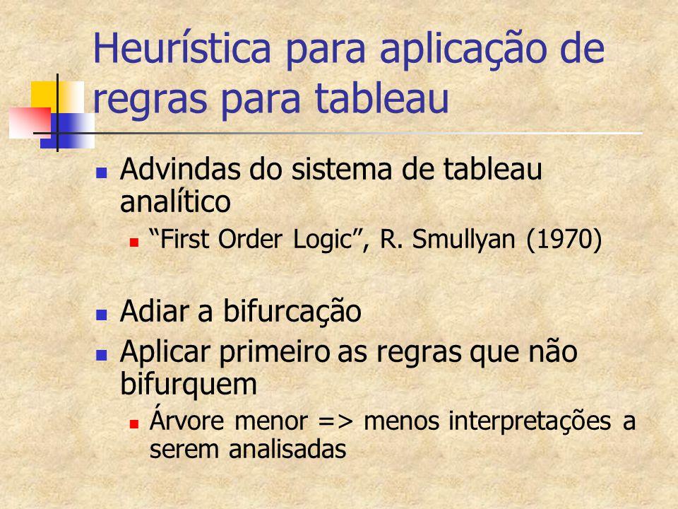 """Heurística para aplicação de regras para tableau Advindas do sistema de tableau analítico """"First Order Logic"""", R. Smullyan (1970) Adiar a bifurcação A"""