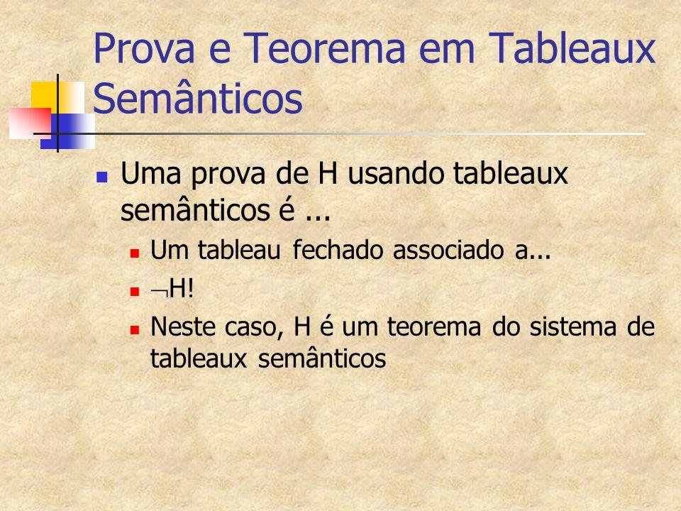 Prova e Teorema em Tableaux Semânticos Uma prova de H usando tableaux semânticos é... Um tableau fechado associado a...  H! Neste caso, H é um teorem